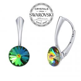 SILVEGO st��brn� n�u�nice se Swarovski(R) Crystals 8 mm rivoli vitrail medium