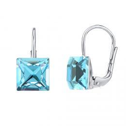 SILVEGO støíbrné náušnice se Swarovski® Crystals Aquamarine