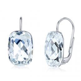 SILVEGO støíbrné náušnice se Swarovski® Crystals Baguette èiré