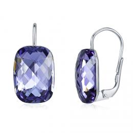 SILVEGO støíbrné náušnice se Swarovski® Crystals tanzanite