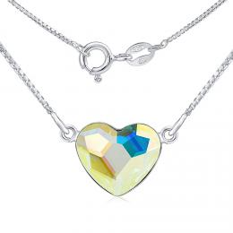 SILVEGO st��brn� n�hrdeln�k se Swarovski® Crystals srdce Aurora Boreale
