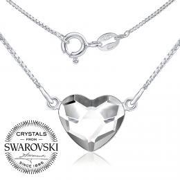 SILVEGO st��brn� n�hrdeln�k se Swarovski(R) Crystals srdce �ir�
