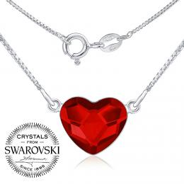SILVEGO st��brn� n�hrdeln�k se Swarovski(R) Crystals srdce �erven�