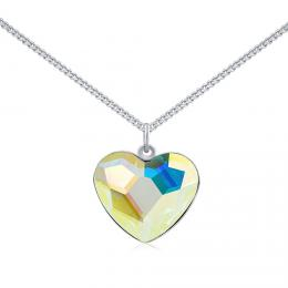SILVEGO støíbrný náhrdelník se Swarovski® Crystals srdce Aurora Boreale