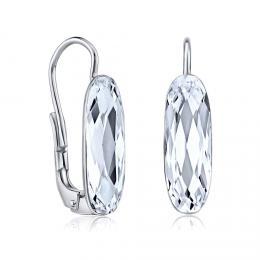SILVEGO støíbrné náušnice se Swarovski® Crystals 15 mm èiré - zvìtšit obrázek