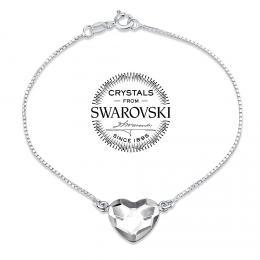 SILVEGO st��brn� n�ramek se Swarovski(R) Crystals srdce �ir�