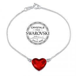 SILVEGO st��brn� n�ramek se Swarovski(R) Crystals srdce �erven�