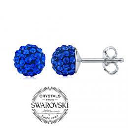 SILVEGO stшнbrnй nбuљnice kuliиky 7mm se Swarovski(R) Crystals tmavм modrб