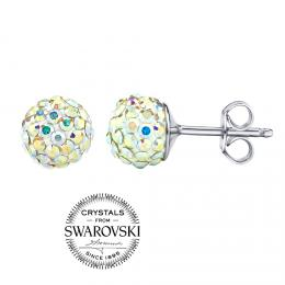 SILVEGO stшнbrnй nбuљnice kuliиky 7mm se Swarovski(R) Crystals AB