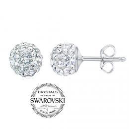 SILVEGO stшнbrnй nбuљnice kuliиky 8mm se Swarovski(R) Crystals иirй