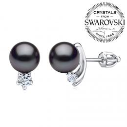 SILVEGO stшнbrnй nбuљnice s иernou perlou Swarovski(R) na љroubek