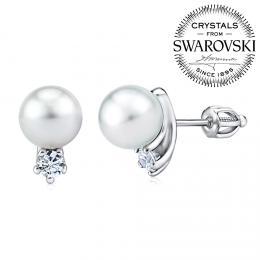 SILVEGO stшнbrnй nбuљnice s bнlou perlou Swarovski(R) Crystals na љroubek