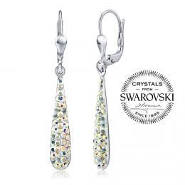 SILVEGO st��brn� n�u�nice kapky 4 cm se Swarovski(R) Crystals AB