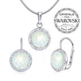 SILVEGO st��brn� set - n�u�nice a p��v�sek se Swarovski(R) Crystals a b�l�m op�lem