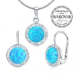 SILVEGO stшнbrnэ set - nбuљnice a pшнvмsek se Swarovski(R) Crystals a modrэm opбlem