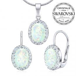 SILVEGO stшнbrnэ set - nбuљnice a pшнvмsek se Swarovski(R) Crystals a bнlэm opбlem