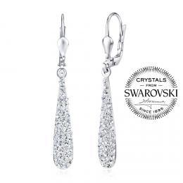 SILVEGO stшнbrnй nбuљnice kapky 4 cm se Swarovski(R) Crystals иirй