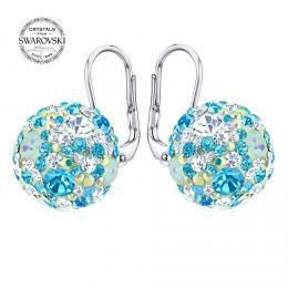 SILVEGO st��brn� n�u�nice kuli�ky 13 mm se Swarovski® Crystals tyrkysov� modr�