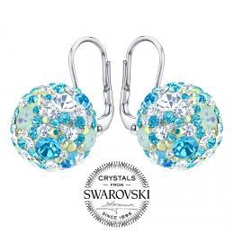 SILVEGO st��brn� n�u�nice kuli�ky 13 mm se Swarovski(R) Crystals tyrkysov� modr�