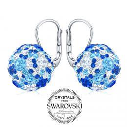 SILVEGO st��brn� n�u�nice kuli�ky 13 mm se Swarovski(R) Crystals tmav� modr�