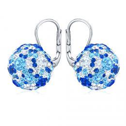 SILVEGO støíbrné náušnice kulièky 13 mm se Swarovski® Crystals tmavì modrá