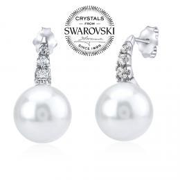 SILVEGO stшнbrnй nбuљnice s bнlou perlou Swarovski(R) 12mm na puzetu