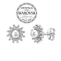 SILVEGO stшнbrnй nбuљnice s bнlou perlou Swarovski(R) Crystals na puzetu