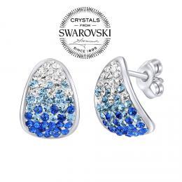 SILVEGO st��brn� n�u�nice se Swarovski® Crystals 14 mm modr�