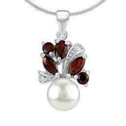 Støíbrný pøívìsek MARIANNE s pøírodní perlou a pravým Granátem