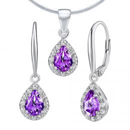 Set støíbrných šperkù LAVENDER s pravým Ametystem - náušnice a pøívìsek