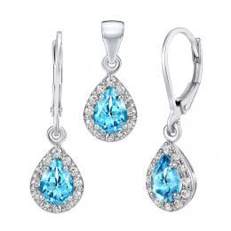 Set støíbrných šperkù GENEVA s pravým Topazem Swiss - náušnice a pøívìsek - zvìtšit obrázek