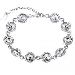 SILVEGO støíbrný náramek se Swarovski® Crystals 8 mm rivoli èiré - zvìtšit obrázek