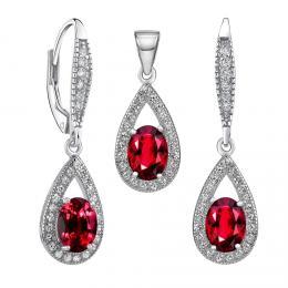 Set støíbrných šperkù ORION náušnice a pøívìsek se syntetickým rubínem