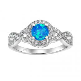 Støíbrný prsten CHERIE s modrým opálem