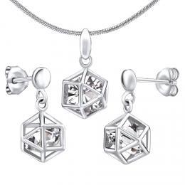 Støíbrný set šperkù klec s kamenem - náušnice a pøívìsek