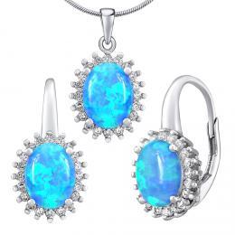 Støíbrný opálový set šperkù ORIANA náušnice a pøívìsek  - zvìtšit obrázek