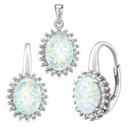 Støíbrný opálový set šperkù TROYA náušnice a pøívìsek