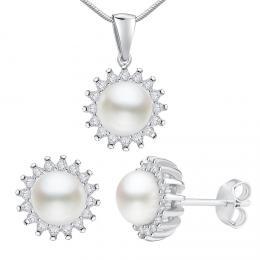 Støíbrná souprava VERA s pøírodní bílou perlou - náušnice a pøívìsek - zvìtšit obrázek