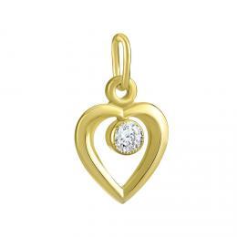 Zlatý pøívìsek srdce s pøírodním topazem Swarovski Gemstones