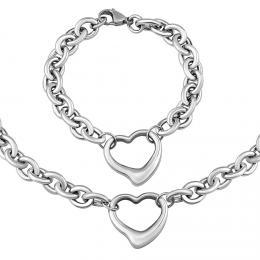 Set náramku a náhrdelníku HEART z chirurgické oceli