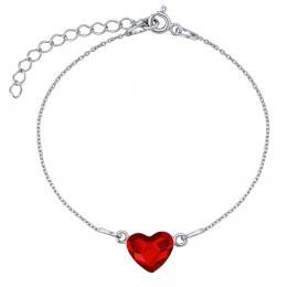 SILVEGO støíbrný náramek se Swarovski® Crystals srdce èervené - zvìtšit obrázek