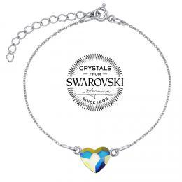 SILVEGO støíbrný náramek se Swarovski® Crystals srdce Aurora Boreale