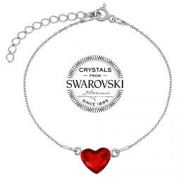 SILVEGO støíbrný náramek se Swarovski® Crystals srdce èervené