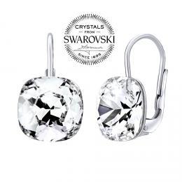 SILVEGO stшнbrnй nбuљnice se Swarovski(R) Crystals square 10 mm