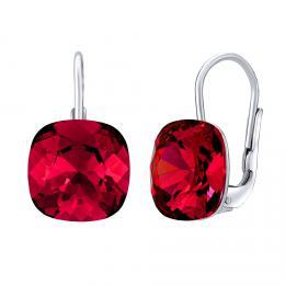 SILVEGO støíbrné náušnice se Swarovski® Crystals square 10 mm