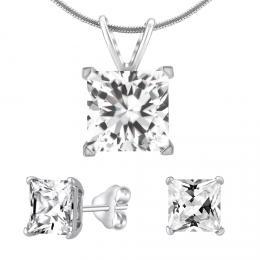 Støíbrný set šperkù ètverec krystal náušnice a pøívìsek
