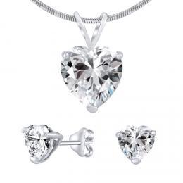 Støíbrný set šperkù srdce èiré krystal náušnice a pøívìsek