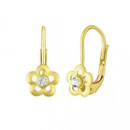 SILVEGO zlaté dìtské náušnice s pøírodním èirým topazem Swarovski® Gemstones
