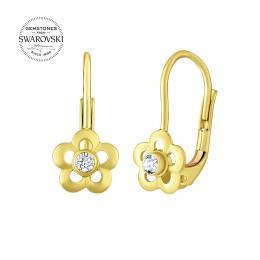 SILVEGO zlaté dìtské náušnice s pøírodním èirým topazem Swarovski® Gemstones - zvìtšit obrázek