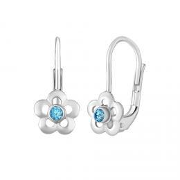 SILVEGO støíbrné náušnice pomnìnky s pøírodním modrým topazem Swarovski® Gemstones